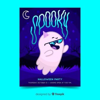 Folleto de fiesta de halloween de fantasma nerd con gafas