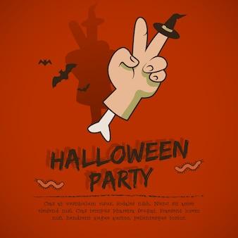 Folleto de fiesta de halloween con mano de murciélagos voladores con gesto de victoria y sombrero de bruja en el dedo