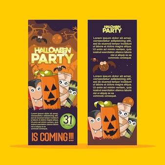 Folleto de la fiesta de halloween con monster celebration