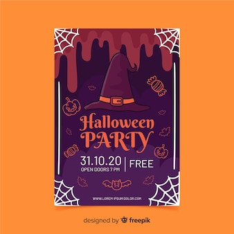 Folleto de fiesta de halloween de sombrero de bruja