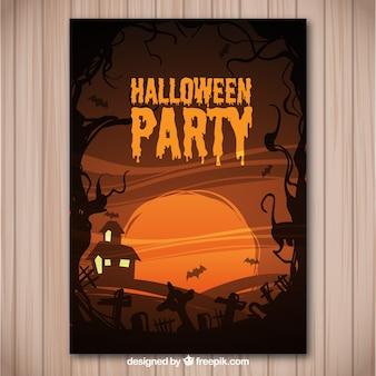Folleto para una fiesta de halloween en tonos marrones