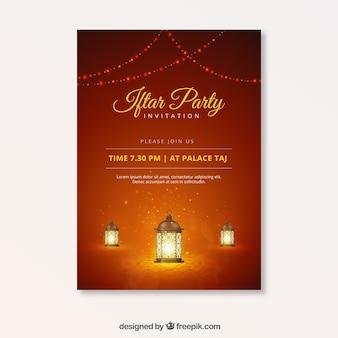 Folleto de fiesta de iftar con lámparas