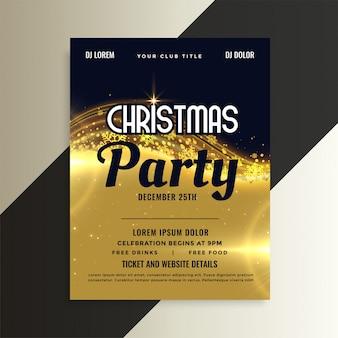 Folleto de fiesta de invitación de navidad premium dorado brillante