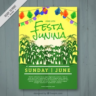 Folleto de fiesta junina con cosecha