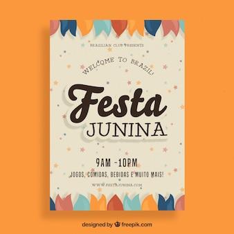 Folleto de fiesta junina con ornamentos planos