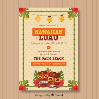 Folleto de fiesta luau hawaiana