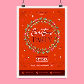 Folleto de fiesta de navidad de diseño plano