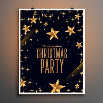 Folleto de fiesta de navidad de estrellas negras y doradas