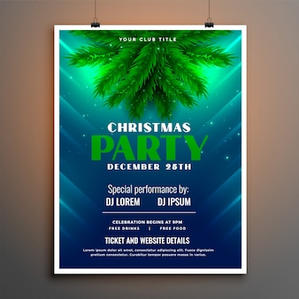 Folleto de fiesta de navidad con hojas de pino
