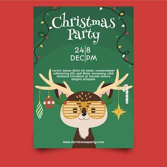 Folleto de fiesta de navidad de plantilla dibujado a mano