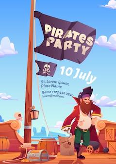 Folleto de fiesta de piratas, invitación para juego o evento de aventura.