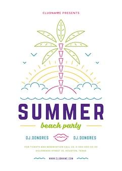 Folleto de fiesta de playa de verano o plantilla de cartel diseño de estilo de tipografía de líneas modernas.