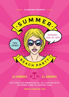 Folleto de fiesta de playa de verano o plantilla de cartel estilo de tipografía de arte pop.