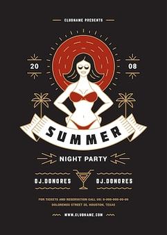 Folleto de fiesta de playa de verano o plantilla de cartel tipografía de línea moderna