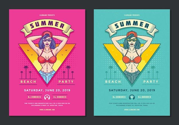 Folleto de fiesta en la playa de verano o plantilla de póster estilo pop art de los años 90