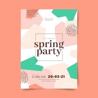 Folleto de fiesta de primavera abstracto dibujado a mano