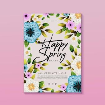 Folleto de fiesta de primavera en acuarela