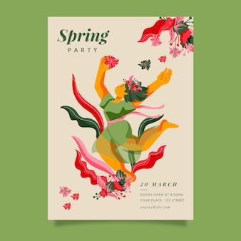 Folleto de fiesta de primavera dibujado a mano