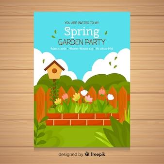 Folleto de fiesta primaveral de jardín
