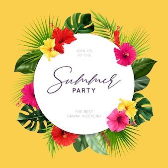 Folleto de fiesta de verano con composición realista de hibisco