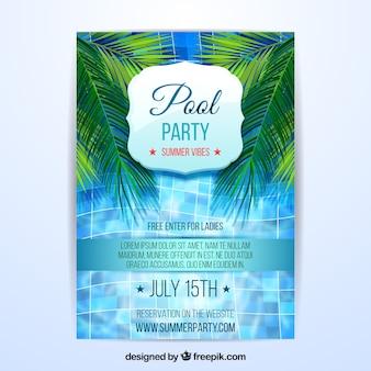 Folleto de fiesta de verano con piscina