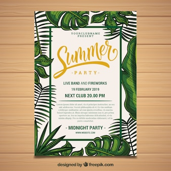 Folleto de fiesta de verano tropical