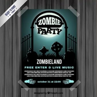 Folleto de fiesta zombi