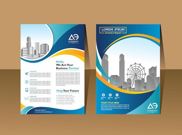 Folleto flyers plantilla de diseño perfil de la empresa póster de revista informe anual libro y portada de folleto