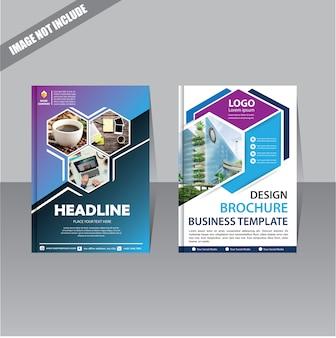 Folleto folleto de informe anual de diseño con forma geométrica