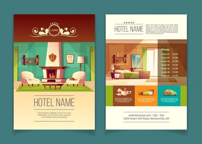 Folleto, folleto publicitario con apartamentos de hotel, habitaciones con muebles