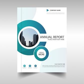 Folleto con formas circulares, reporte anual