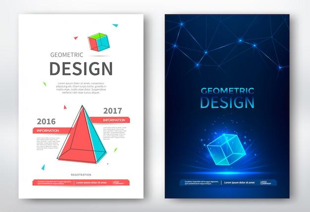 Folleto con formas geométricas, diseño abstracto
