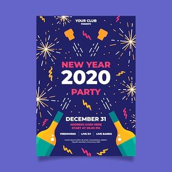 Folleto de fuegos artificiales dorados y champán feliz año nuevo 2020