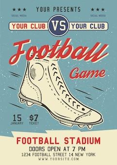 Folleto de fútbol americano en formato a4. diseño gráfico del cartel del juego de rugby con bota retro y texto.