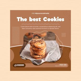 Folleto de galletas de chocolate cuadrado