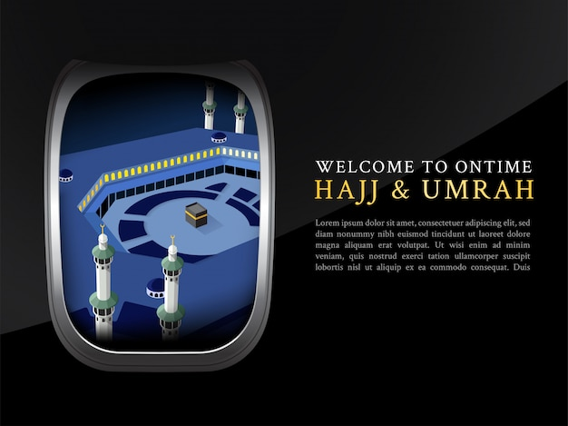 Folleto de hajj y umrah, póster, vista de plantilla de pancarta desde la ventana del avión
