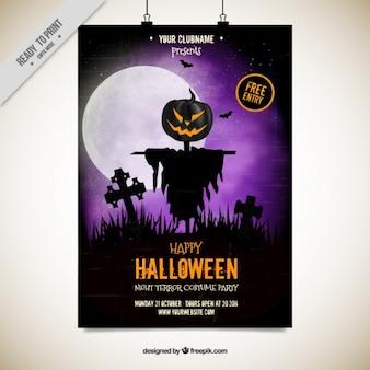 Folleto de halloween con un espantapájaros espeluznante