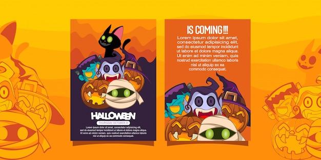 Folleto de halloween con ilustración de disfraces de halloween