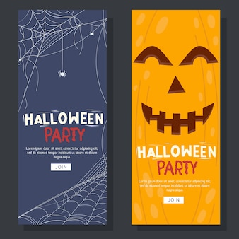 Folleto de halloween con tela de araña y fondo de calabaza
