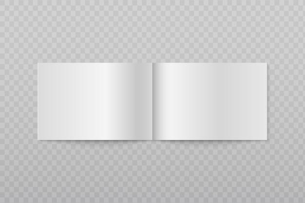 Folleto horizontal abierto en blanco. páginas blancas del folleto o de la revista 3d aislado. folleto de hoja de página, catálogo de folletos, bloc de notas e ilustración de diario