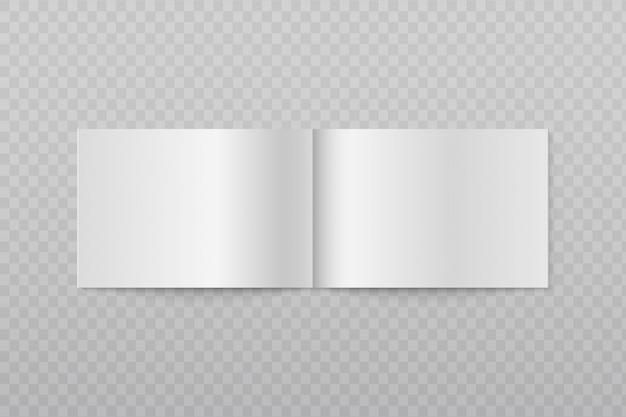 Folleto horizontal abierto en blanco