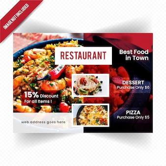 Folleto horizontal de alimentos para restaurante