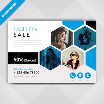 Folleto horizontal de la venta de la moda
