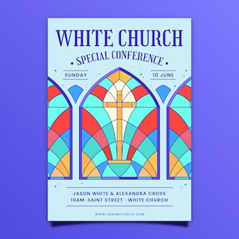 Folleto de iglesia de diseño plano