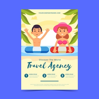Folleto ilustrado de venta de viajes