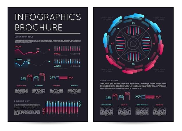 Folleto de infografías de negocios con varios gráficos