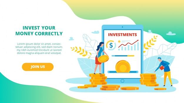 Folleto informativo invierta su dinero correctamente.