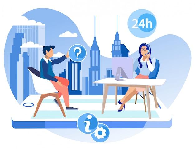 Folleto informativo oficina call center cartoon