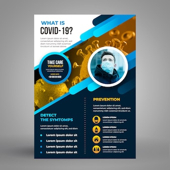Folleto informativo sobre el coronavirus con foto