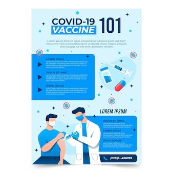 Folleto informativo de vacunación contra el coronavirus dibujado a mano plana